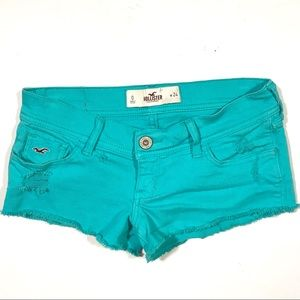 Hollister Low Rise Cheeky Shorts Frayed Turquoise